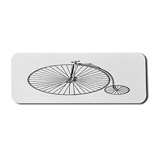 Fahrrad Computer Mauspad, Vintage Big Wheel Bike Einfache Gravur Stil Penny Farthing Print, Rechteck rutschfeste Gummi Mousepad groß weiß und anthrazit