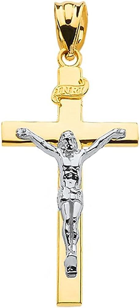 10K Two Tone Yellow & White Gold Catholic Linear Cross INRI Crucifix Pendant Charm - Choice of Size