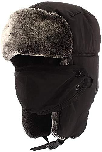 Pulchram Gorros de Aviador para Hombre, Sombreros de Bombardero Unisex de Invierno Trooper Trapper Sombreros de Caza con Máscara a Prueba de Viento para Esquiar, Patinar y Escalar (Black)