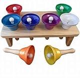 Handglocken Set regenbogenfarben, 9 -teilig mit Holzständer. 8 Glocken in verschiedenen Tonlagen - 3853