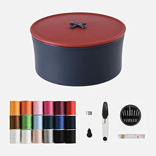 Caja de coser con accesorios organizador de costura con herramientas de costura completas para coser, cesta de costura, diseño de división de coser, almacenamiento de coser,