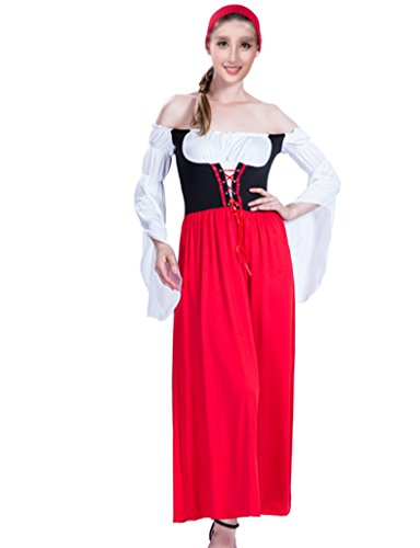 Non-Strip German Beer Maid Oktoberfest Costume Traditional European Cultural Wear Dirndle M