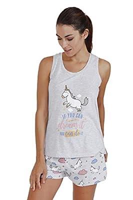 MR WONDERFUL Pijama Tirantes Unicornio para Mujer