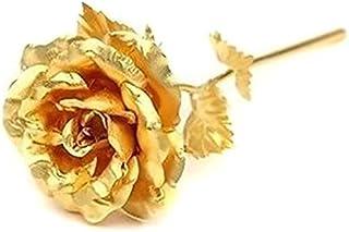وردة مطلية بالذهب عيار 24 قيراط بلون ذهبي وردي لهدية عيد الحب- وردة كبيرة مع صندوق هدايا