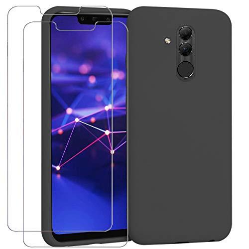 "Ingen - Funda para Huawei Mate 20 Lite + 2 Pack Protector de Pantalla, Funda Suave de Silicona Líquida con tapete de Microfibra Anti-Rasguño. para Huawei Mate 20 Lite 6.3"".Negro."