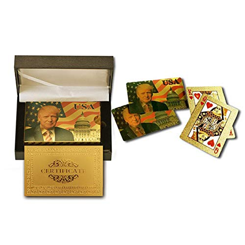 Donald Trump Playing Cards - Gold Plated Playing Cards Gold Plated Deck of Waterproof Poker Cards w/ Case for Game for Table Games