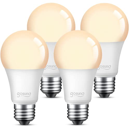 Smart Alexa Light Bulb 75W Equivalent E26 8W Upgraded Gosund Led WiFi Bulb A19 Dimmable Works with Amazon Echo Google Home, 2.4Ghz WiFi Only, No Hub Required Warm White 4 Pack