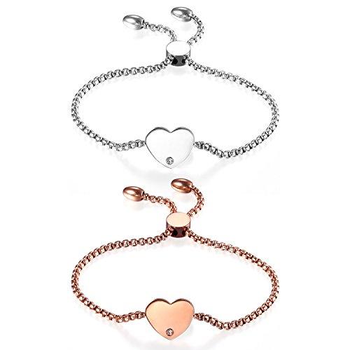 JewelryWe Schmuck 2 PCS Damen Armband, Edelstahl Strass Hochglanz Poliert Herz Verstellbar Charm Armkette Armreif, Rosegold Silber, kostenlos Gravur