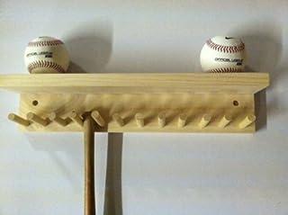 Accesorio de bate de béisbol y bola Soporte Pantalla natural acabado Meant to Hold hasta 11Mini Collectible raquetas y 4pelotas