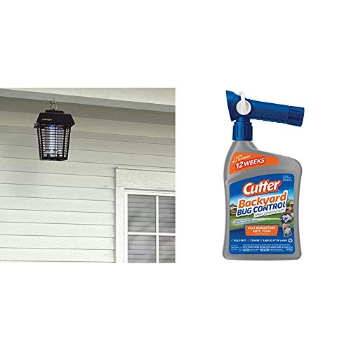 Flowtron BK-15D Electronic Insect Killer, 1/2 Acre Coverage & Cutter Backyard Bug Control Spray Concentrate, 32-Ounce