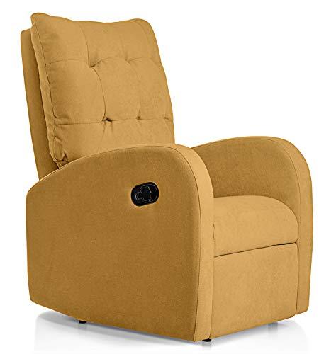 SUENOSZZZ-ESPECIALISTAS DEL DESCANSO Sillon Relax orejero reclinable Soft tapizado en Tela Antimanchas Mostaza