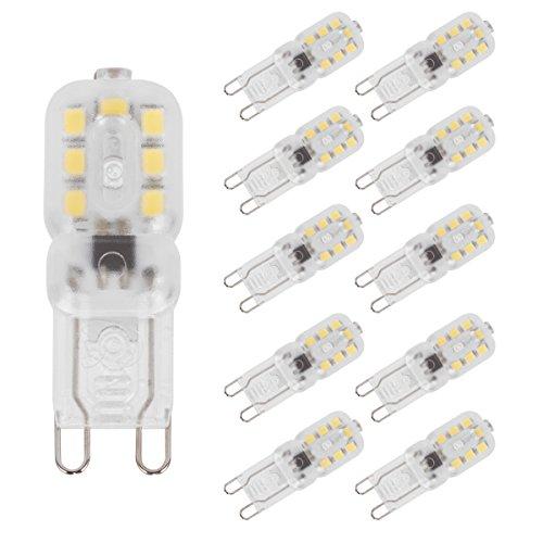 LOHAS G9 LED Lampen, 2W, 200LM, Ersetzt 25W, Kaltweiß 6000K, Nicht dimmbar, 360°Abstrahwinkel, 230V, 10er Pack