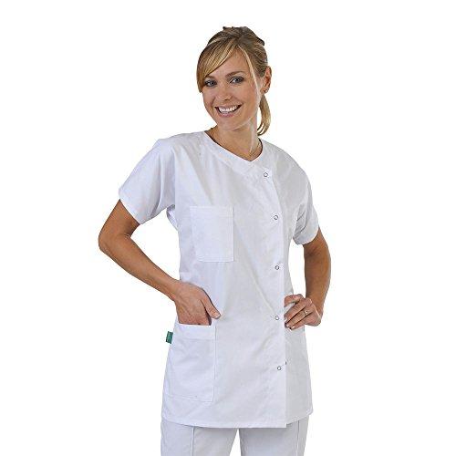 Label Blouse Julia - Bata médica para Mujer, Cerradura de Botones a presión, Color Blanco - T1-38/40