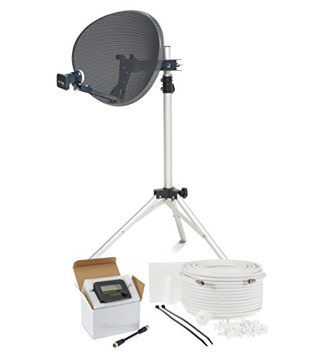 SSL Satellites Zone 1 Portable Satellite Dish Kit Tripod Quad LNB & Sat Finder - 10M Single White - Full DIY Kit for Caravan