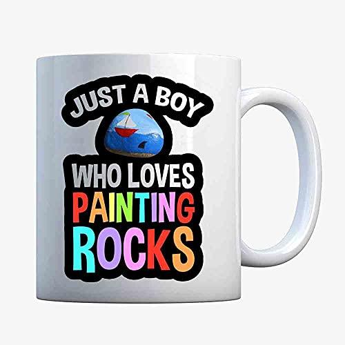 Just A Boy Who Loves Painting Rocks Coffee Mugs, Funny Mug, Gift Coffee Mug
