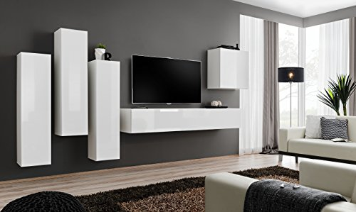 all4all Wohnwand Hochglanz Anbauwand Schrankwand Fernsehwand Wohnzimmerset Lowboard Kleine Wohnwand Fernsehschrank SW 3 (Weiß - Alicante)