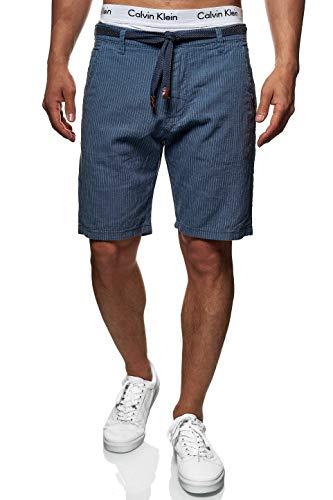 Indicode Herren Enford Shorts mit Kordelzug aus 55% Baumwolle & 45% Leinen  Kurze Hose Regular Fit Bermuda gestreift Herrenshorts Sommershorts Short Pants Sommerhose kurz für Männer China Blue M