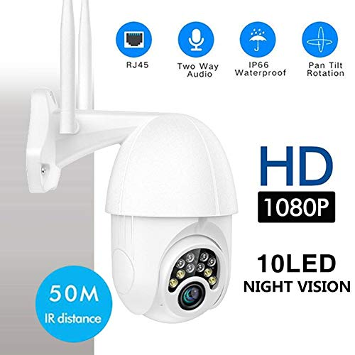 Luckybaby Cámara de Seguridad WiFi PTZ con Luces 10LED, cámara de Seguridad IP 1080P HD IR Visión Nocturna, rotación de 360 Grados, cámara Domo IP66 Impermeable de 2.5 Pulgadas para Exteriores