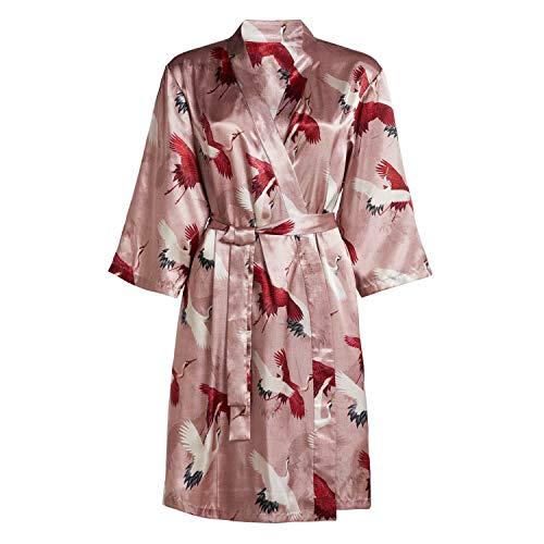 ESSENZA Bademantel Damen Kimono Crane Rose XL