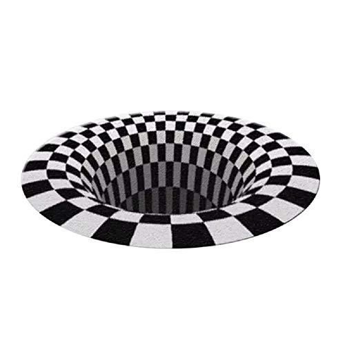 FANMU Alfombra redonda 3D espacial vórtice ilusión alfombra, alfombra de salón antideslizante...