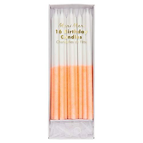 Meri Meri Coral Glitter Dipped Candles