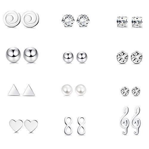 Milacolato 12 Pares de Aretes de Acero Inoxidable Para Mujeres Niñas Clear CZ Stone Infinity Music Note Conjunto de aretes