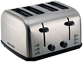 Black+Decker 4 Slice Stainless Steel Cool Touch Toaster with Crumb Tray, Silver - ET304-B5, 2 Years Warranty