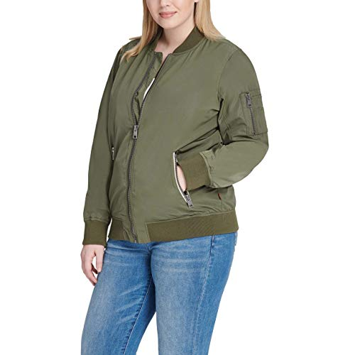 Womens Plus Size Army Green Bomber Jacket