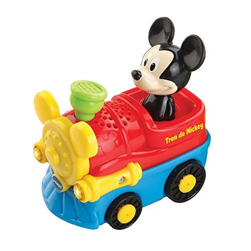 VTech Tut Bólido TutTutBólidos Disney, vehículo interactivo con música, voz y efectos luminosos, sus ruedas giratorias con sensor activan frases, melodías y canciones (80-512322) (TTB Tren de Mickey.)