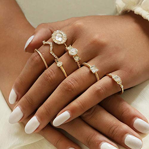 Aukmla Boho Knuckle Rings Set Gold Crystal Stackable Finger Rings Midi Size Joint Knuckle Ring Sets for Women and Girls 7PCS (Gold2)