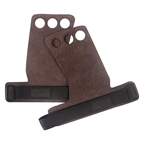 Guantes de gimnasio Weilisi, guantes de cuero de 3 agujeros, guantes de entrenamiento con soporte de muñeca para dominadas/músculos/levantamiento de pesas/barbilla/Ettlebell