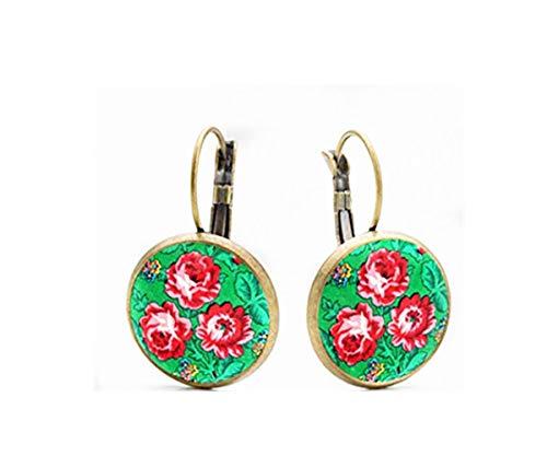 Pendientes de rosas verdes, joyería de cristal de cúpula, joyería delicada, hecho a mano