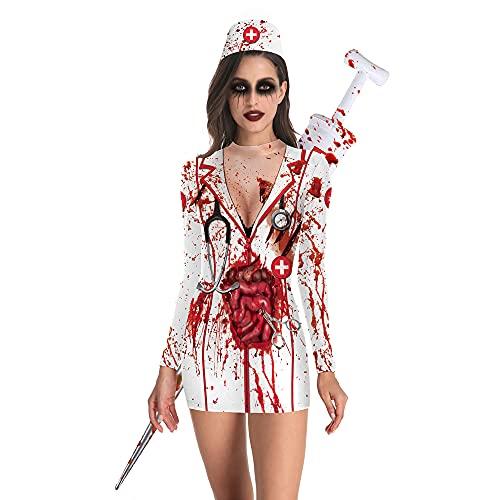 Feynman Disfraz de enfermera zombi para mujer, disfraz de terror, para Halloween y zombi, color negro, talla S