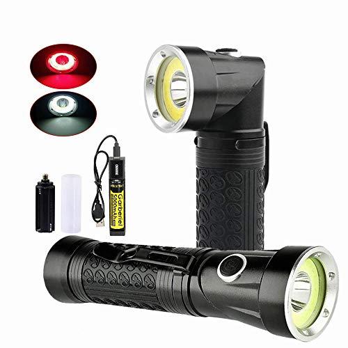 Garberiel LED Taschenlampe 4000 Lumen Super Hell 2 Farblichter (Rot & Weiß) 4 Modi Wasserdicht mit 18650 Akku und Ladegerät