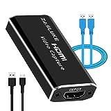ZasLuke HDMI キャプチャーボード HDMI to USB2.0 ビデオキャプチャーボード 1080P ゲーム実況生配信、画面共有、録画に適用 DSLR、Nintendo Switch、PS4、OBS Studio、YouTube対応 USB3.0をType Cに、USB3.0をUSB3.0ケーブルにも供給 電源不要