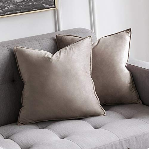 MIULEE Pack of 2 Velvet Soft Decorative Square Throw Pillow Case Flanges Cushion Covers Pillowcases for Livingroom Sofa Bedroom with Invisible Zipper 45cm x 45cm 18x18 Inch Set of Two Heart Wood