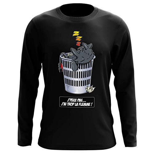 OKIWOKI långärmad tröja, svart, parodiska drakar, krokmou the Furie natt: Jpeux Pas JAi trop la Flemme ! (Parodie Dragons)