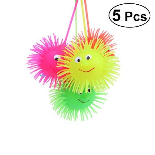 TOYMYTOY 5 stücke Leuchtende Kugel Ball Glühende Igel Elastizität Flash-Haar Ball Kinder Lustige Spielzeug (Gelegentliche Farbe)