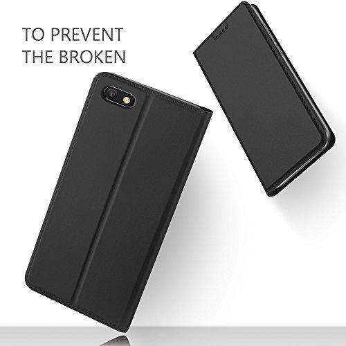 GeeMai für Huawei Y5 2018 Hülle, für Huawei Y5 Prime 2018 Hülle, Premium Hülle Flip Case Tasche Cover Hüllen mit Magnetverschluss Standfunktion Schutzhülle für Huawei Y5 2018 Phone (Schwarz) - 4