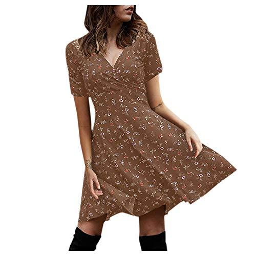 Chejarity Damenkleid Boho Minikleid V-Ausschnitt Bedrucktes Taillenkleid Wickelkleid Strandkleid Mittellanger Regenschirmrock Sommerkleider Knielanger Rock Retro-Kleid