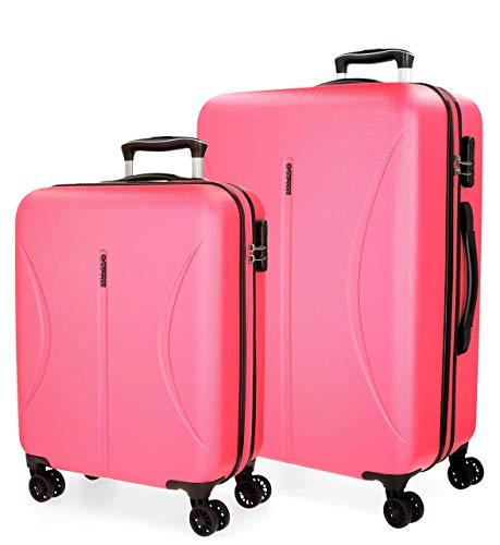 Roll Road Camboya Juego de maletas Rosa 55/70 cms Rígida ABS Cierre combinación 111L 4 Ruedas Dobles Equipaje de Mano