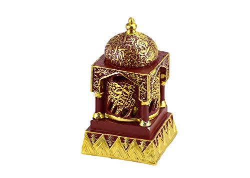 Engraved Calligraphy Minaret Incense Bakhoor Burner   Frankincense Resin Burner   Office & Home Decor   Arabia Bakhoor/Oudh/Oud Burner (Mabkhara)   Metal Tray 5 Inches Tall   Red  