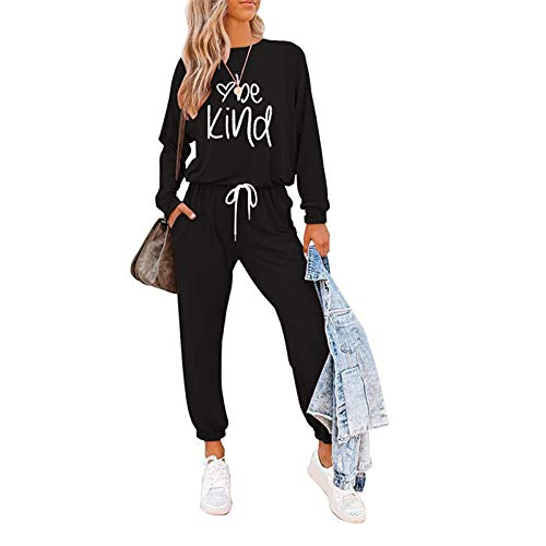 I3CKIZCE 2PCS Damen Trainingsanzug Loungewear Set Langarm Letter Print Pullover Tops Lange Hosen Jogginghose Damen Gym Wear Jogging Sportswear Top und Jogging Bottom Outfits Set S-3XL (Schwarz, XL)