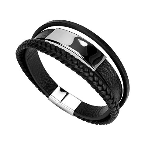 E-More Bracelet for Man Cowhide Genuine Leather Women Unisex Cuff Wrap Bracelet Brown Black Multi-Layer Magnetic Clasp Rope Wristband Idea Gift for Valentine's Day/Birthday/Anniversary