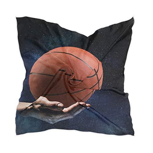 LZXO - Bufanda deportiva para mujer, diseño de baloncesto, impresión a mano, cuadrada, pañuelo para la cabeza, pañuelo ligero, con 10 pasadores de bobby, 60 x 60 cm