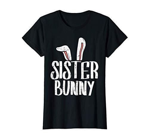 Sister Bunny Ears Cute Easter Family Matching Girls Women Camiseta
