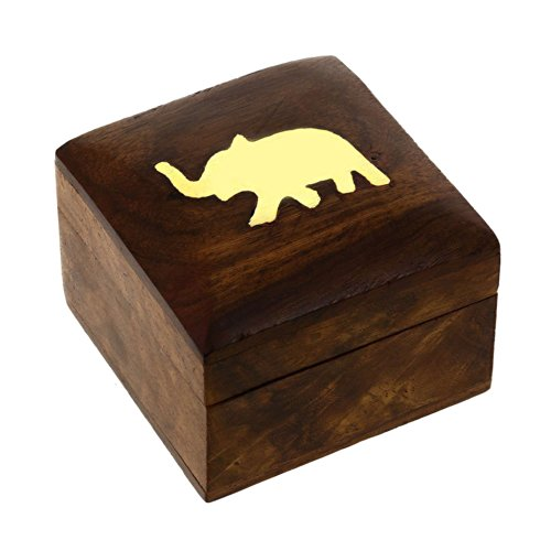 Shalinindia - Cofanetto portagioie in Legno con elefantino, 5 x 5 x 3,8 cm
