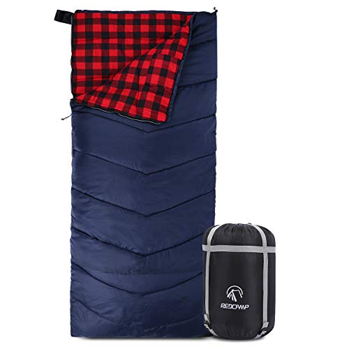 REDCAMP Cotton Flannel Sleeping Bag for Adults, XL 32/41/50F Comfortable, Envelope Sleeping Bag with Compression Sack, Red Plaid 3lbs(79'x33')