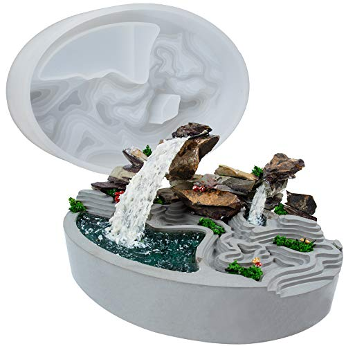 Oval Terrace Flower Pot Epoxy Resin Silicone Tray Succulent Planter, Realistic Waterfall Diorama, Bonsai, Miniature Fairy Garden, Concrete, Cement, Plaster, Polymer Clay 6x4.6inch