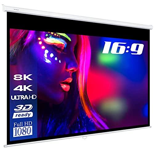 "ESMART Professional MIROLO Rollo-Leinwand [Größenauswahl] 266 x 149 cm (120\"") 16:9 | Heimkino Beamer Projektionsleinwand Rollo Leinwand LCD LED"